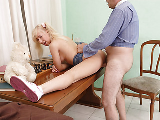 Old guy was glad when gorgeous Connie acceded to fuck with him instead of having boring supplementary-class.