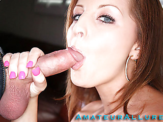 Sweet redhead with a merry a-hole, can't live without swallowing cum and it shows. This Babe sucks off Ray's large wang and then this guy holds her hair and rams it unfathomable down her mouth. This Babe rides him like a rodeo cutie with her shaved little muff then strokes off his schlong until this chab discharges a large load all over her hand.