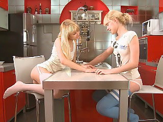 Blonde friends passionately kiss and dildo tight wet holes